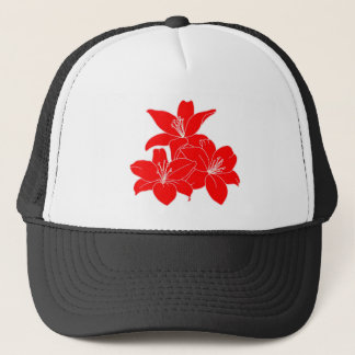 Red tropical flowers trucker hat