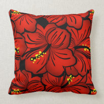 Red Tropical Hawaiian Hibiscus Flower design Throw Pillow