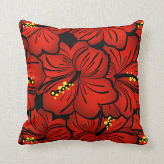 Red Tropical Hawaiian Hibiscus Flower design Throw Pillow