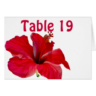Red  Tropical Hibiscus Assigned Table Numbers Card