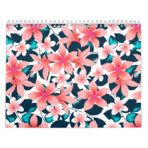 Red tropical hibiscus calendar