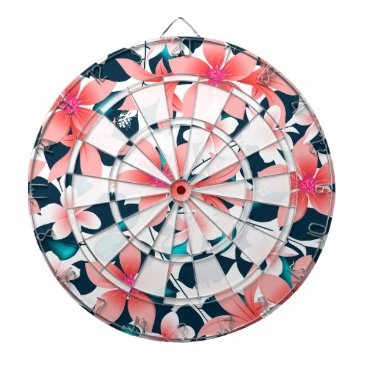 Hawaiian Themed Red tropical hibiscus dartboard with darts