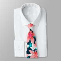 Red tropical hibiscus neck tie