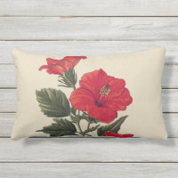 Red Tropical Hibiscus Tan Outdoor Lumbar Pillow