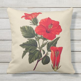 Red Tropical Hibiscus Tan Outdoor Pillow 20X20