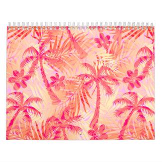 Red tropical palms calendar