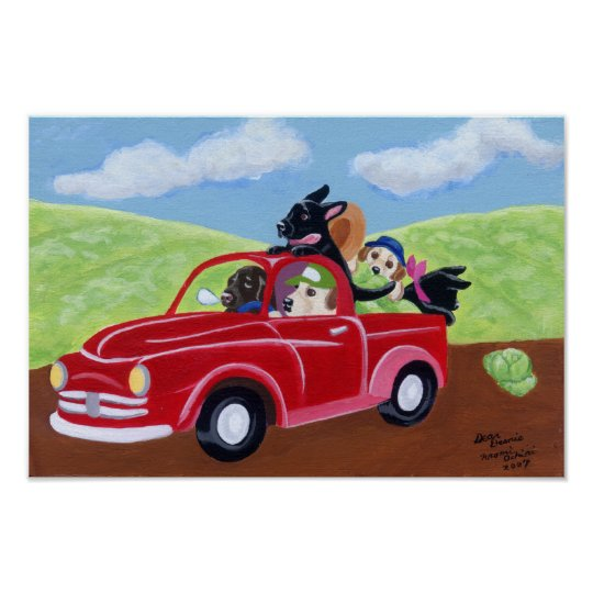 Red Truck and Labradors Artwork Poster
