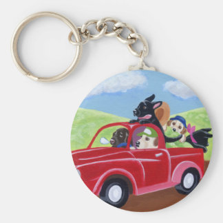 Red Truck and Labradors Keychain