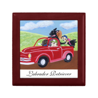 Red Truck and Labradors Painting Trinket Box