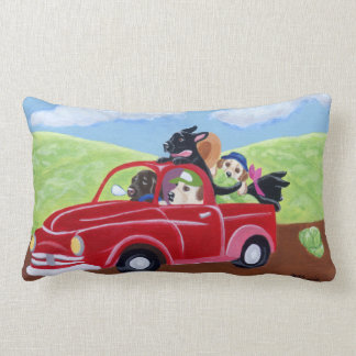 Red Truck and Labradors Painting Lumbar Pillow
