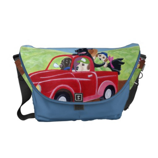 Red Truck and Labradors Painting Messenger Bags