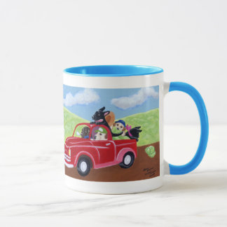 Red Truck and Labradors Painting Mug