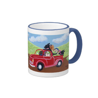 Red Truck and Labradors Painting Ringer Mug