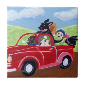 Red Truck and Labradors Painting Tile