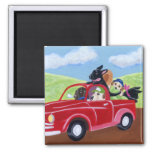Red Truck and Labradors Refrigerator Magnets