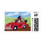 Red Truck and Labs Postage