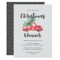 Red Truck and Tree Christmas Dinner Invitation