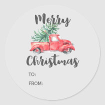 Red Truck and Tree Christmas Gift Name Classic Round Sticker
