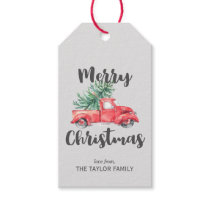 Red Truck and Tree Christmas Gift Tags
