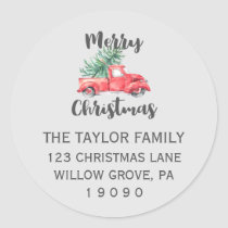 Red Truck and Tree Christmas Return Address Classic Round Sticker
