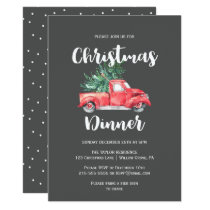 Red Truck and Tree | Gray Christmas Dinner Invitation