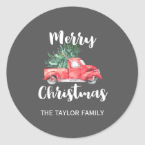 Red Truck and Tree   Gray Christmas Gift Classic Round Sticker