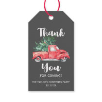 Red Truck and Tree Gray Christmas Party Thank You Gift Tags