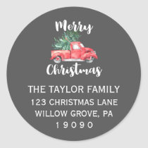 Red Truck and Tree | Gray Christmas Return Address Classic Round Sticker