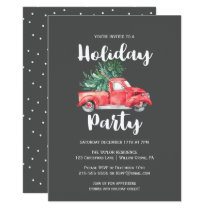 Red Truck and Tree   Gray Holiday Party Invitation