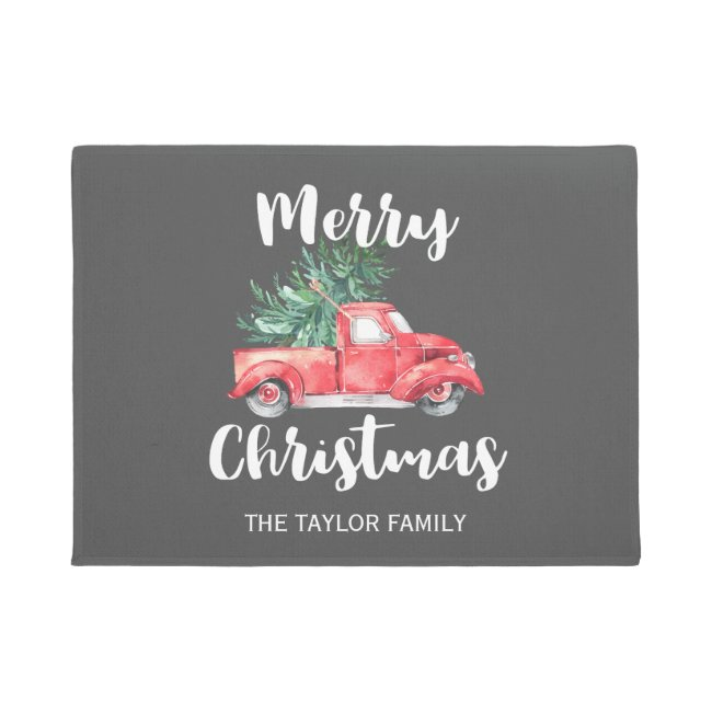 Red Truck and Tree | Gray Merry Christmas Doormat