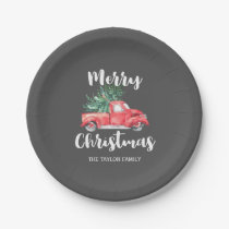 Red Truck and Tree   Gray Merry Christmas Party Paper Plate