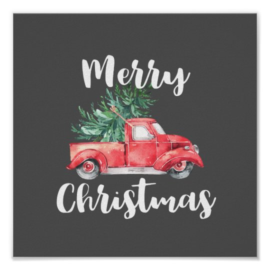 Christmas Red Truck.Red Truck And Tree Gray Merry Christmas Poster