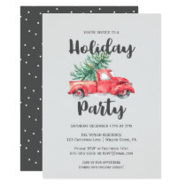 Red Truck and Tree Holiday Party Invitation