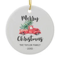 Red Truck and Tree Merry Christmas Holiday Ceramic Ornament