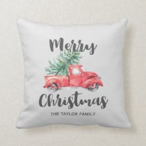 Red Truck and Tree Merry Christmas Throw Pillow