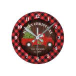 Red Truck Buffalo Plaid Rustic Wood Christmas Round Clock
