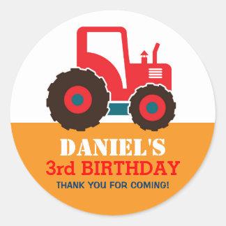 Red Truck Cartoon Kids Birthday Party Sticker