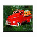 Red Truck Christmas  Ornament 3 Photo Cut Out