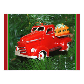"""Red Truck Christmas  Ornament (4) 6.5"""" X 8.75"""" Invitation Card"""