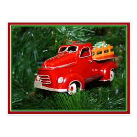 Red Truck Christmas  Ornament (4) Postcard