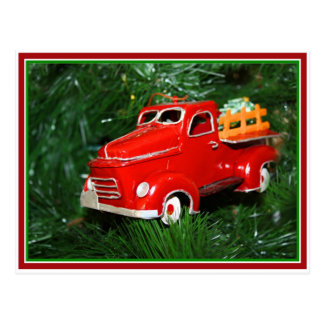Red Truck Christmas Ornament 4 Post Card