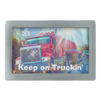Red Truck Drivers Transport Belt Buckle
