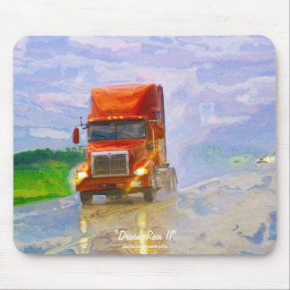 Red Truck Highway Driving in the Rain Art Mousepad