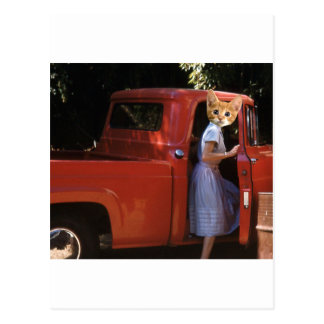 Red Truck Kitten Postcard