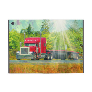 Red Truck Lorry Driver Big Rig Heavy Transport Cover For iPad Mini