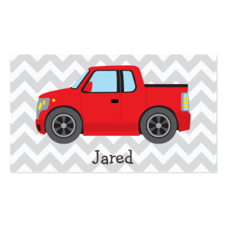 Red Truck on Gray and White Chevron Stripes Double-Sided Standard Business Cards (Pack Of 100)