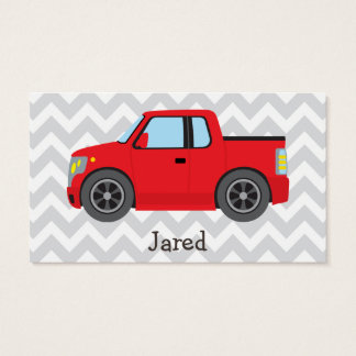 Red Truck on Gray and White Chevron Stripes Business Card