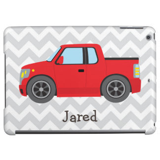 Red Truck on Gray and White Chevron Stripes iPad Air Cases