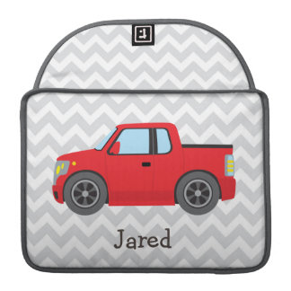 Red Truck on Gray and White Chevron Stripes Sleeves For MacBook Pro