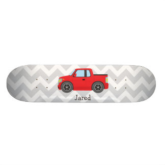 Red Truck on Gray and White Chevron Stripes Skate Board Deck